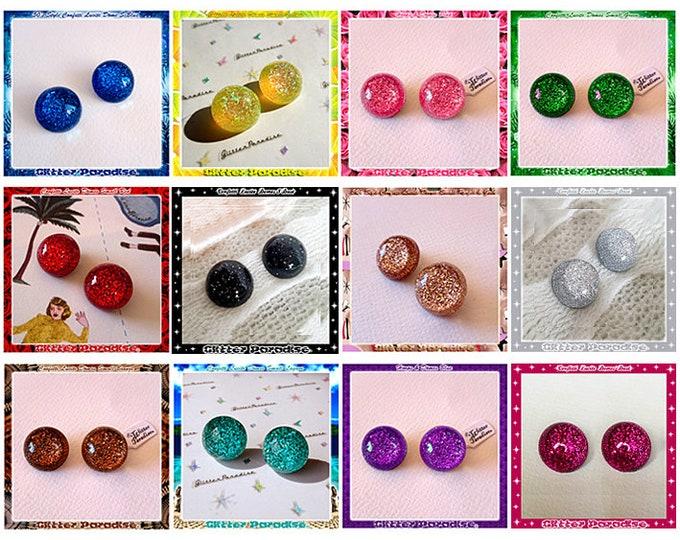 Confetti Lucite Dômes Small - Earrings - Lucite - Glitter Dômes - Vintage Inspired - Retro Jewelry - Mid-Century Modern - Glitter Paradise®