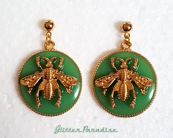 Insecta Apoidea - Earrings - Bee Jewelry -  Queen Bee - Insect Earrings - Bee - Honey Bees - Bumblebee - Stingless Bee - Glitter Paradise®