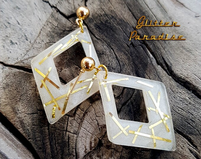 Lucite Retro Rhombus - Earrings - 1950s Diamond Hoops - Confetti Lucite Losange - Retro - 50s Pinup - Vintage Inspired - Glitter Paradise®