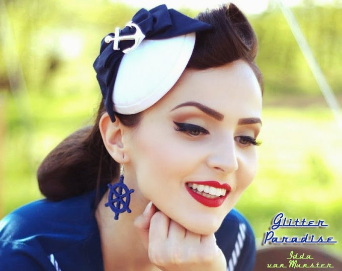 Giant Anchor & Wheel - Earrings - Hello Sailor - US Navy - Boat - Marine - Captain - Pinup Sailor - Nautical -  Maritime - Glitter Paradise®