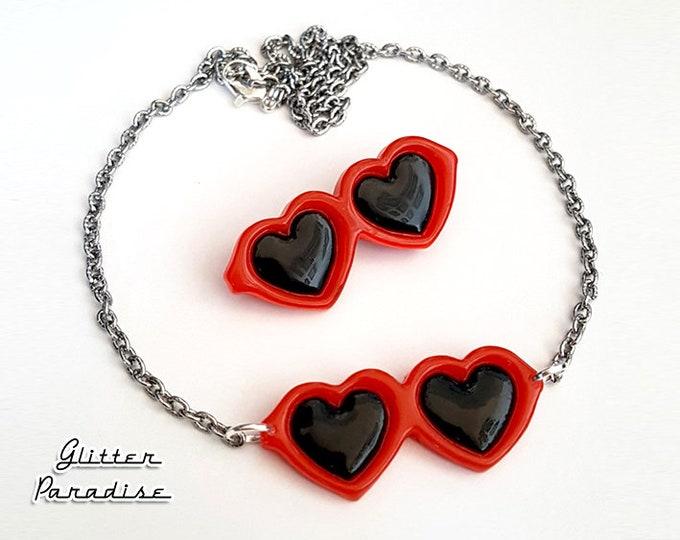 Heart Shaped Glasses - Set - 50s Jewelry - Retro Jewelry - Heart Shaped Shades - Heart Shaped Glasses Brooch & Necklace - Glitter Paradise®