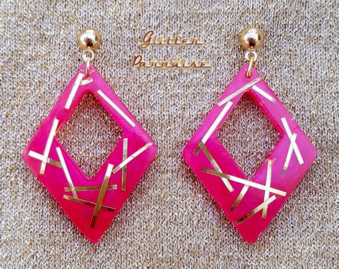Lucite Retro Rhombus - Earrings - 1950s Diamond Hoops - Confetti Lucite Losange - Retro - 50s Pinup - Vintage Inspired - Glitter Paradise®