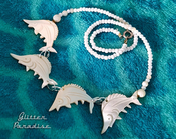 Original Vintage Mother of Pearl Swordfish - 1950's Necklace - Undersea Life Jewelry - Mermaid Necklace - Vintage Finds - Glitter Paradise®
