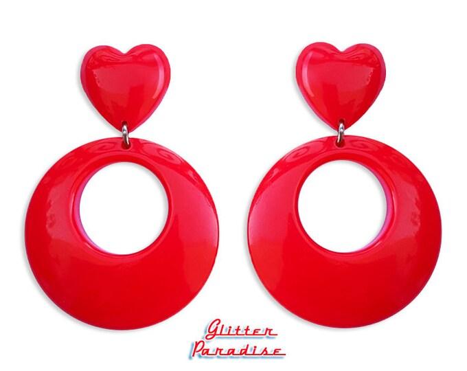 Hoops & Heart - Earrings - 1950s Jewelry - Retro Heart Hoops - Marilyn Hoops - Vintage Inspired - Valentine's Earrrings - Glitter Paradise®