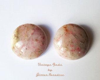 Original Vintage 1950's Sun Stone Dômes - Earrings - 1950s Gemstone Earrings - Authentic Vintage Finds - Retro Jewelry - Glitter Paradise®