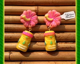 Tiki Rainbow & Hibiscus  - Earrings - Tiki Jewelry - Aloha - Oasis - Moai - Easter Island - Hibiscus - Totem - Tropical - Glitter Paradise®
