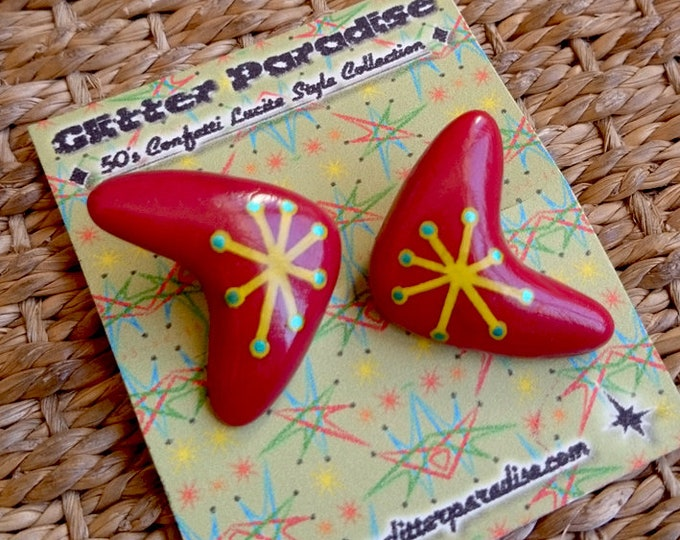 Atomic Boomerang Red & Yellow - Earrings - Mid-Century Modern - 1950s - 1960s - Retro - Pinup Jewelry - Molecular - Atom - Glitter Paradise®
