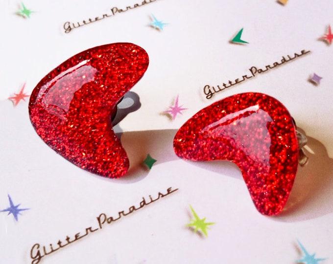 Confetti Lucite Atomic Boomerang - Earrings - Glitter Boomerangs - Mid-Century Modern - Retro Earrings - Pinup Earrings - Glitter Paradise®