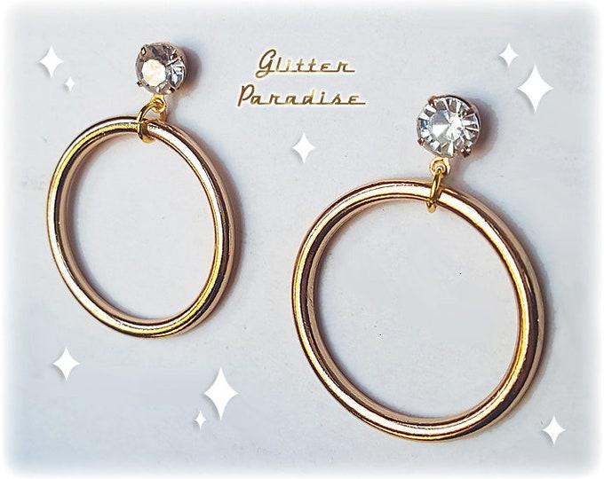 Marilyn Hoops Deluxe - Earrings - Hoops & Diamond - 50s Retro Barbie Hoops - Marilyn Hoops Earrings - 50s Pinup Hoops - Glitter Paradise®