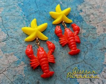 All Star Lobster - Earrings - Lobster - Mermaid Earrings - Beach Mermaid Jewelry - Lobster Jewelry - Vintage Red Lobster - Glitter Paradise®