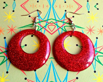 Confetti Lucite Hoops Red - Earrings - Confetti Lucite Hoops - Hoops Earrings - Glitter Hoops - Retro Earrings - Pinup - Glitter Paradise®