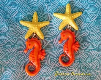 Fakelite SeaHorse & Starfish - Earrings - Under the Sea - Sea - Ocean Lover - Mermaid Jewelry - Beach - Seahorse Brooch - Glitter Paradise®