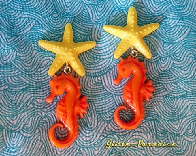 Fakelite SeaHorse & Starfish - Earrings - Under the Sea - Sea - Ocean Lover - Mermaid Jewelry - Beach - Seahorse Brooch - Glitter Paradise®