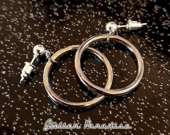 Baby Marilyn Hoops Silver - Earrings - Hoops & Domes - Barbie Hoops - Hoops Earrings - Pinup Hoops - Retro Hoops - 50s - Glitter Paradise®