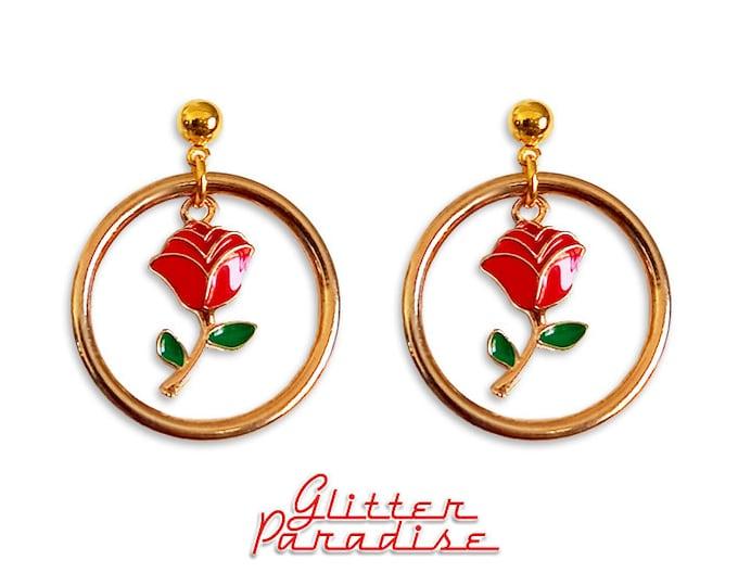 Hoops de Chingona - Earrings - Hoops and Red Rose - Rose Love - Gold Hoops & Rose - Latina Hoops -  Latina Love Jewelry - Glitter Paradise®