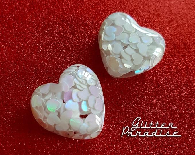 Frozen Hearts - Earrings - Retro Hearts - Hearts - Valentine's Gift - Love - I Love U - Romantic - Heart Jewelry - Amour - Glitter Paradise®