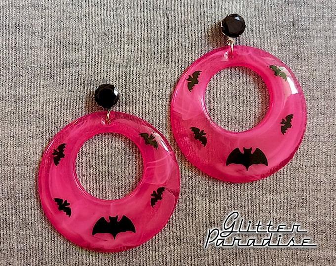 Candy Bats Hoops - Earrings - Retro Halloween Jewelry - Retro Bats Earrings - Retro Vintage Halloween - Ghoul Earrrings - Glitter Paradise®