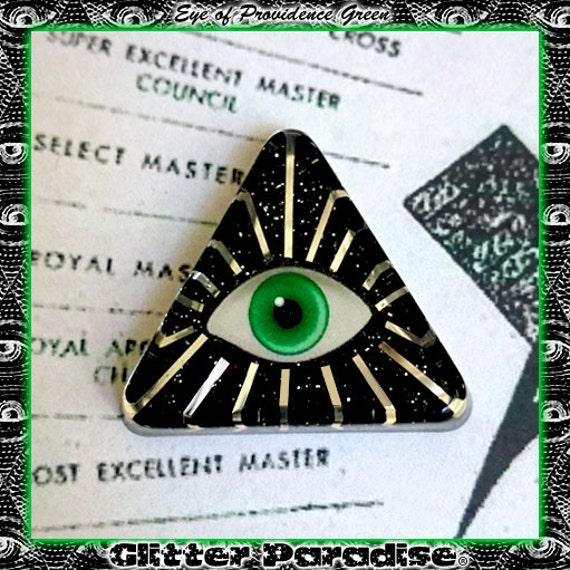 Eye of Providence Broche Ojo de la Providencia Pirámide Ojo de Dios illuminati NWO Francmasón Glitter Paradise®