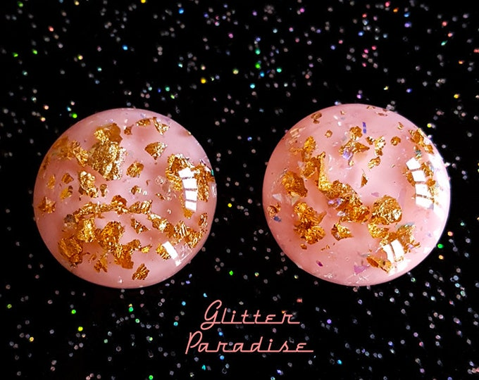 Gold Flakes Dômes Tender Pink - Earrings - 1950's Retro Gold Flakes - Vintage Inspired Gold Flakes Jewelry - Pink Gold - Glitter Paradise®