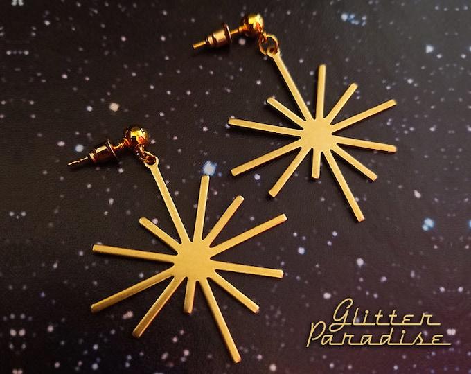 Retro Star Burst - Earrings - Star - Vintage Inspired - Mid-Century Jewelry - Starburst - Franciscan - Sunrays - 50s Sun - Glitter Paradise®