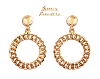 Retro Chain Hoops - Earrings - Retro Hoops - Vintage Inspired - Retro Hoops - Marilyn Hoops Earrings - Chain Gold Hoops - Glitter Paradise®
