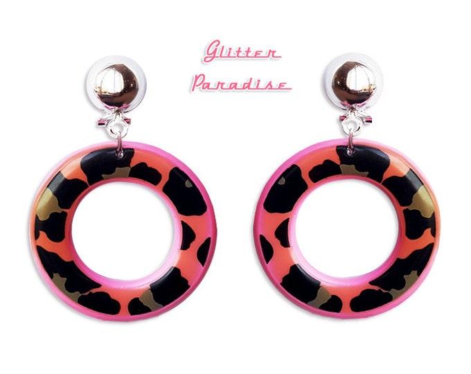 Wild Pink and Black Hoops - Earrings - Hoops & Domes - Vintage Barbie Hoops - Pinup - Wild Retro Hoops - 50s - Vixen - Glitter Paradise®