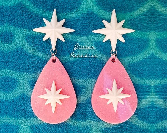 Starlite Motel Deluxe - Starlite Earrings - Retro Star Jewelry - Stars - 50s Motel Style - Mid-Century Modern Earrings - Glitter Paradise®