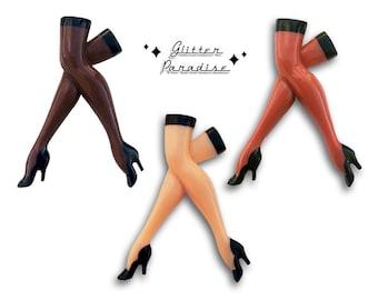 40's Vintage Replica Legs - Brooch - Pinup Legs Brooch - Leg Brooch - Pinup Brooch - 40s Jewelry Repro - Novelty Brooch - Glitter Paradise®