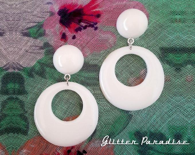 Hoops & Dômes - Earrings - Retro Hoop - 1950s Jewelry - Retro Fakelite Hoops - Marilyn Hoops - Vintage Inspired - Pin-Up - Glitter Paradise®
