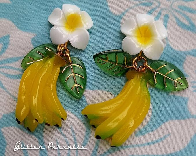 Hawaiian Bananas - Earrings - Tropical - Carmen Miranda - Josephine Baker - Vintage Exotica - Tutti Frutti - 50s - Retro - Glitter Paradise®