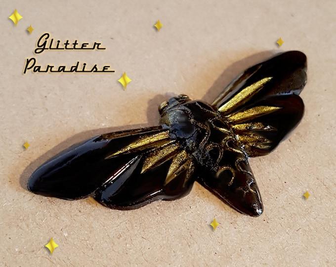 Fakelite Moth - Brooch - Death Skull Moth - Silence of the Labs - Spilosoma Lubricipeda - Butterfly Moth - Death Moth - Glitter Paradise®