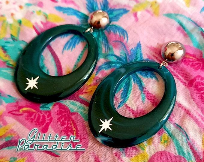 Oval Starlite Deep Lagoon - Earrings - Mid-Century Modern - Starlite Motel - 50s Retro Hoops Earrings - Vintage Inspired - Glitter Paradise®