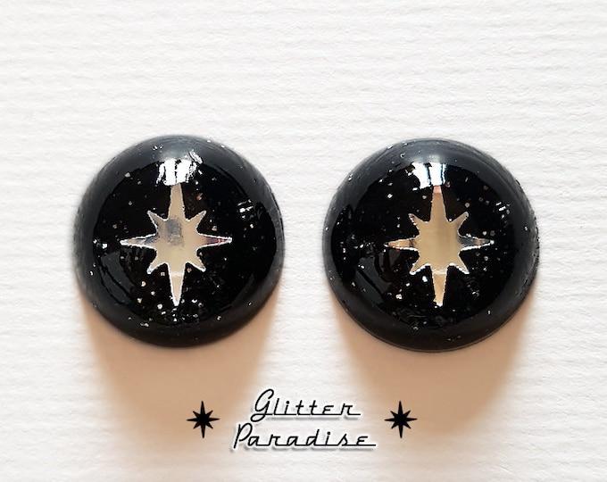Lucite Dômes Starlite Dust - Earrings - Confetti Lucite - Glitter Dômes Earrings - Retro Motel Star - Vintage Inspired - Glitter Paradise®