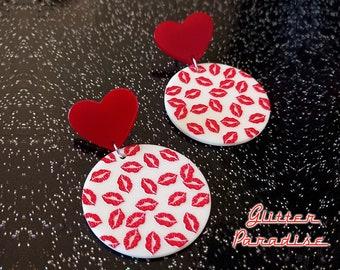 Love Kiss - Earrings - Heart & Lips - Retro - Mid-Century Modern Jewelry - Valentine's Gift - True Love - Red Kiss Lips - Glitter Paradise®