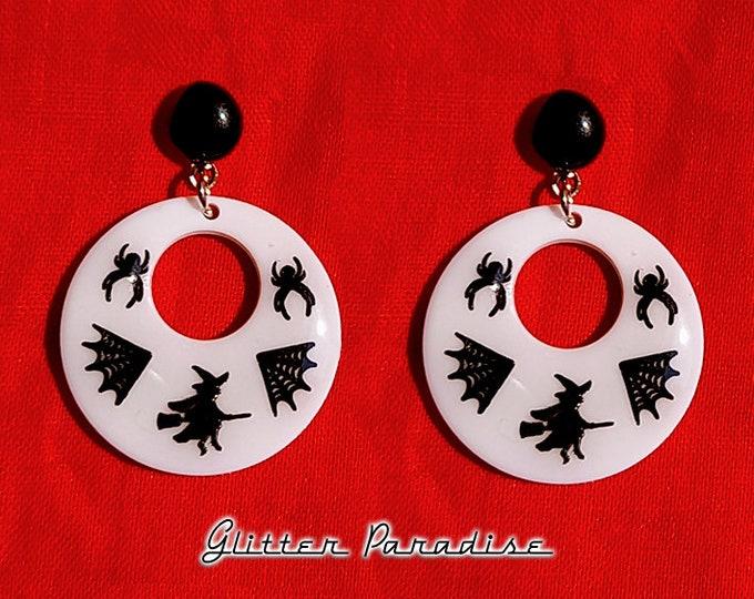 Baby Hoops Halloween  - Earrings - Retro Halloween Jewelry - Retro Bats Earrings - Vintage Halloween - Ghoul Earrrings - Glitter Paradise®