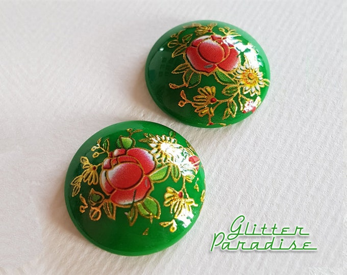 Mexican Oilcloth Dômes - Earrings - Dômes - Mexican Oilcloth - Flower Oilcloth Earrings - Retro Mexican Oilcloth Jewelry - Glitter Paradise®