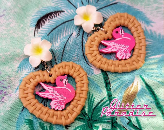 Rattan Love Bird - Earrings - Rattan Raffia Jewelry - Heart - Vintage Exotica - Bird Sparrow Earrings - Rattan Jewelry - Glitter Paradise®