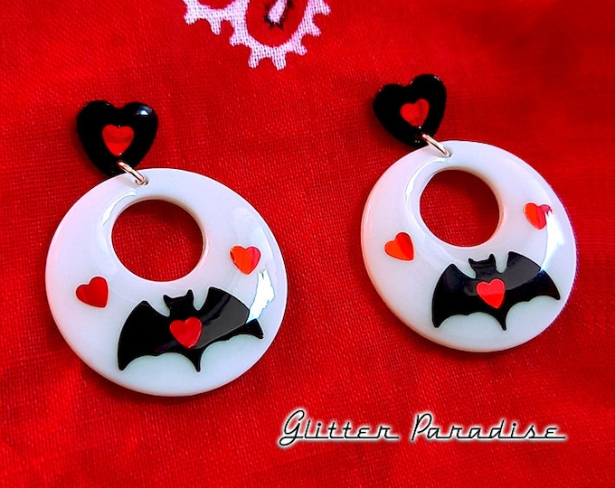Baby Hoops Bat Love  - Earrings - Retro Halloween Jewelry - Retro Bats Earrings - Vintage Halloween - Ghoul Earrrings - Glitter Paradise®