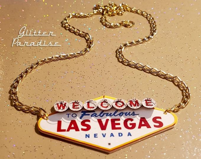 Vegas Billboard - Necklace - Viva Las Vegas - VLV - Fabulous Las Vegas - Nevada - Sin City - Rock'n'Roll - Pinup - Retro - Glitter Paradise®