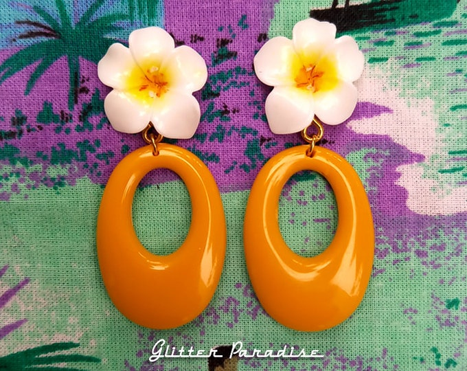 60's Plumeria Hoops - Earrings - Plumeria - Flower Jewelry - Plumeria Jewelry - 1960's Inpsired - Floral Earrings - Glitter Paradise®