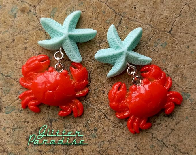 All Star Crab - Earrings - Crab - Mermaid Earrings - Beach Mermaid Jewelry - Crab Jewelry - Vintage Red Crab Jewelry - Glitter Paradise®