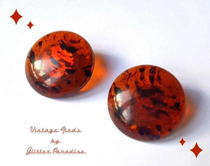 Original Vintage 1950's Bakelite Tortoise Dômes - Earrings - 1950s Bakelite Earrings - Vintage Finds - Retro Jewelry - Glitter Paradise®