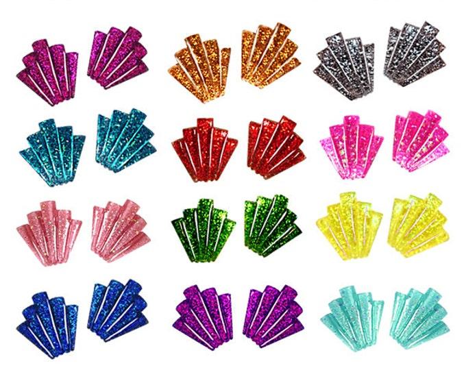 Confetti Lucite Art Deco Shell - Earrings - Glitter Earrings - Lucite - Retro Earrings - 50s - 60s - Mid-Century - Pinup - Glitter Paradise®