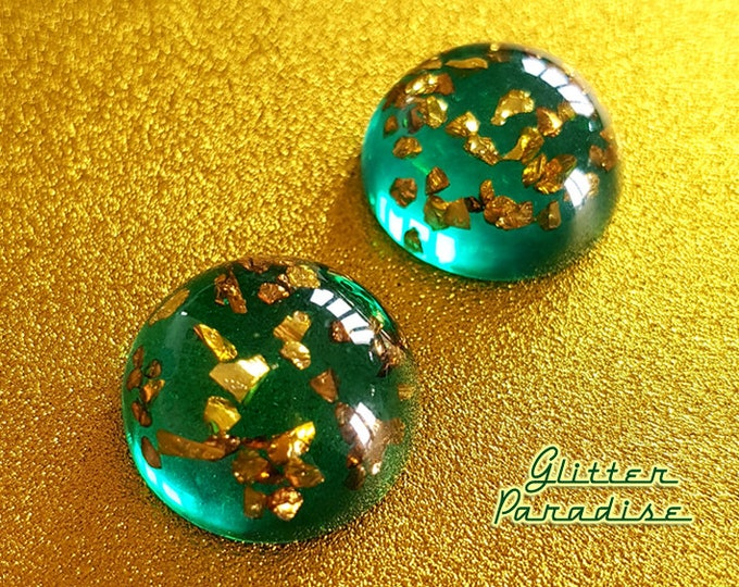 Fakelite Dômes Mint & Gold - Earrings - Retro Gold Flakes Jewelry - Vintage Inspired Gold Flakes Earrings - Green Gold - Glitter Paradise®