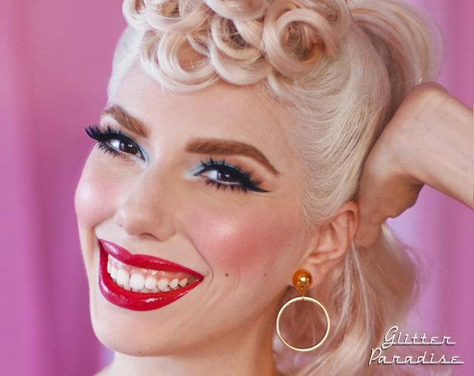 Marilyn Hoops Slim Gold - Earrings - Hoops & Domes - Barbie Hoops - Pinup Hoops Earrings - 1950's Retro Hoops Earrings - Glitter Paradise®