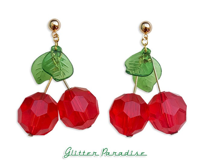 Facet Cherries - Earrings - Cherry - Sweet Cherries - Pinup - Retro - Rockabilly - Cherry Jewelry - Pin-up Jewelry - Glitter Paradise®