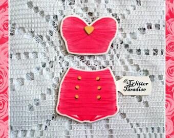 Retro High Waist Heart Set Pink - Brooch Set - Retro Swimsuit - Vintage Sleaze - 1950s - 50s Bathsuit - Vintage Summer - Glitter Paradise®