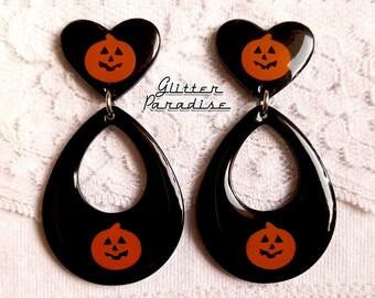 Pumpkin Love Drops - Earrings - Mid-Century Modern - Retro Halloween - Pumkin Earrings - Vintage Halloween - Retro Love - Glitter Paradise®