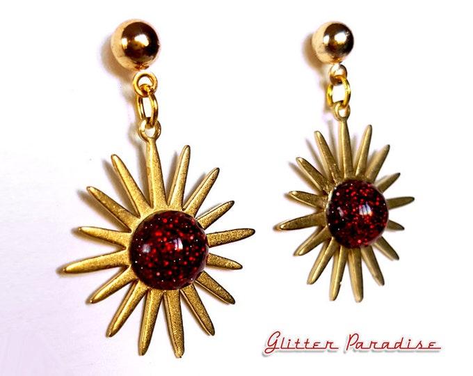 Mid-Century Modern Sunburst - Earrings - Star - Vintage Inspired - 50s - 60s - Starburst - Franciscan - Sunlight - Sun - Glitter Paradise®