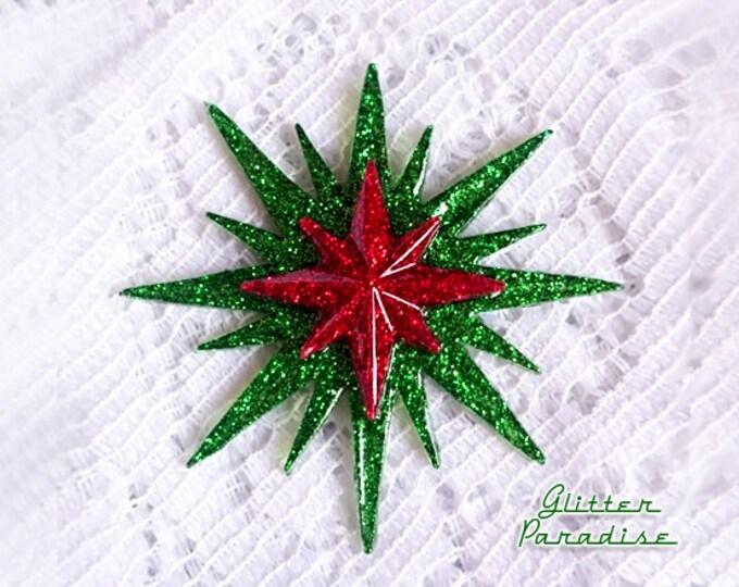 Mid-Century Modern Christmas Sunburst - Brooch - Star Sun Brooch - 1950 - Sunburst Mirror - Starburst Brooch - Celestial - Glitter Paradise®